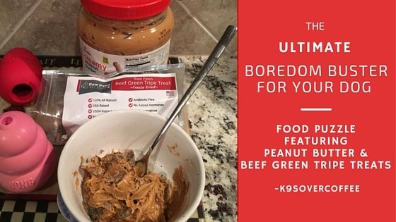 K9sOverCoffee | The Ultimate Boredom Buster For Your Dog - Food Puzzle Featuring Peanut Butter & Beef Green Tripe Treats