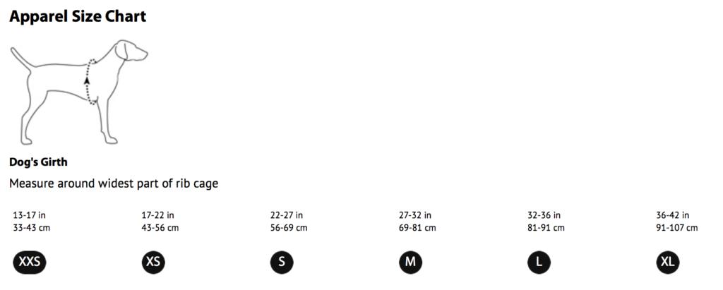 K9sOverCoffee   Ruffwear's Apparel Size Chart