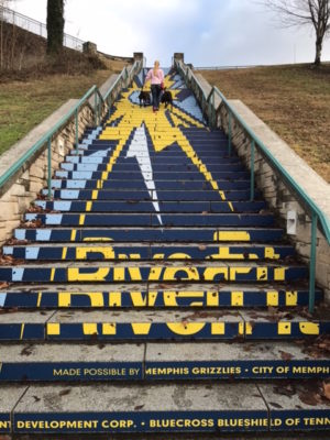 K9sOverCoffee | Walking in Memphis with 2 dogs in tow - Almost at the top of RiverFit Stairs