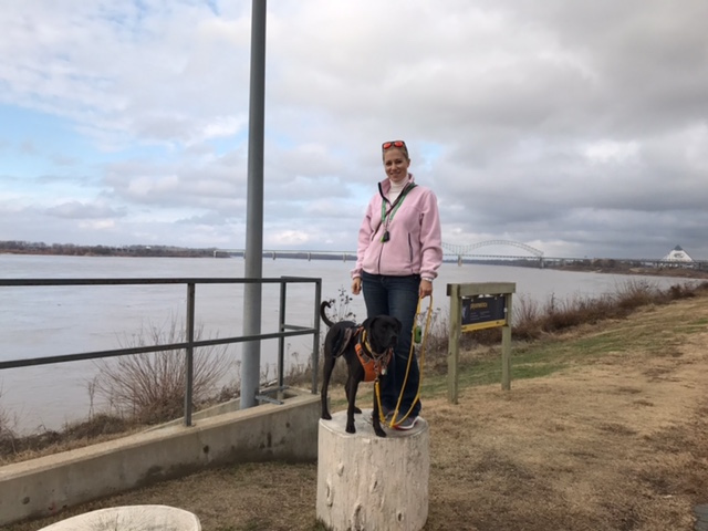 K9sOverCoffee | Walking in Memphis with 2 dogs in tow - Mommy and Missy standing on a Plyo Box