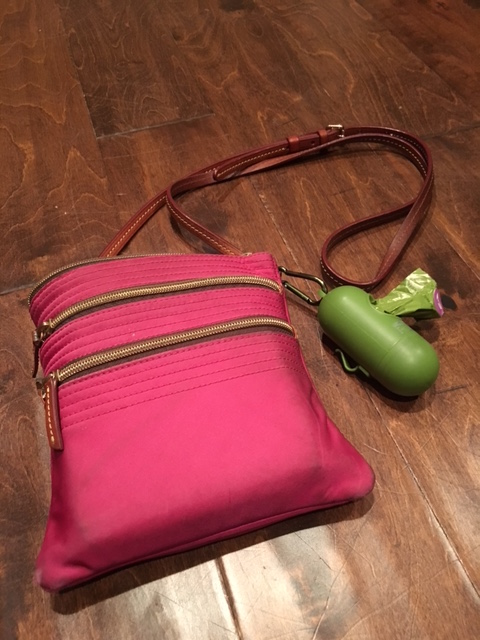 K9sOverCoffee | Tools Of A Professional Dog Walker - Poop Bags Dangling From A Cross Body Purse