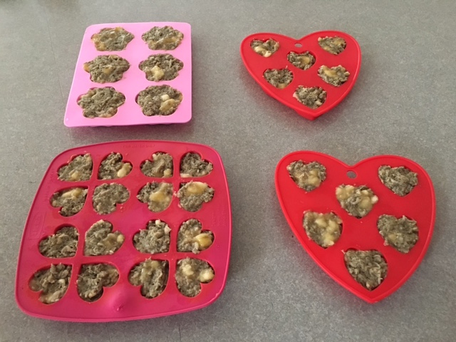 K9sOverCoffee | How To Make Healthy Banana Tripe Dog Treats - Filled Silicone Molds