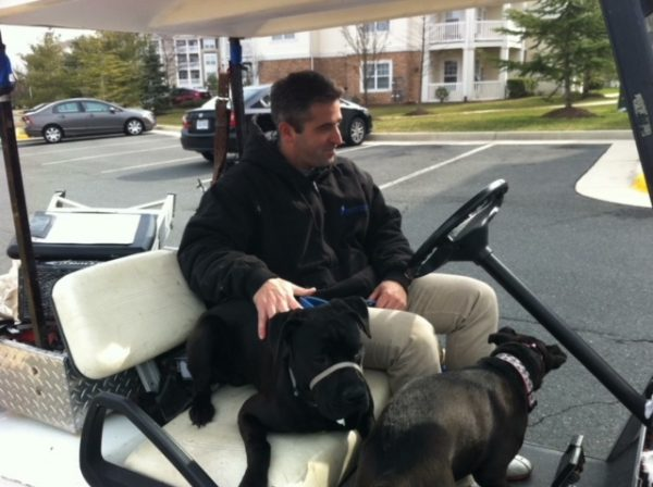 K9sOverCoffee   Missy & Buzz Socializing With One Of The Maintentance Guys At Our Apartment Complex