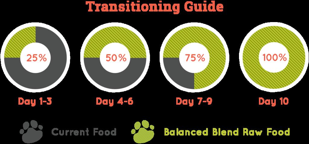 Transitioning guide for Balanced Blends dog food