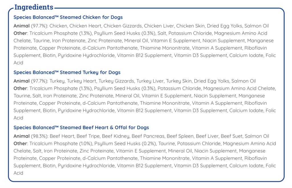 K9sOverCoffee   Balanced Blends - Species Balanced Steamed Ingredients