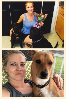 K9sOverCoffee.com | Blogger Barbara with her dogs Missy, Buzz, & Wally