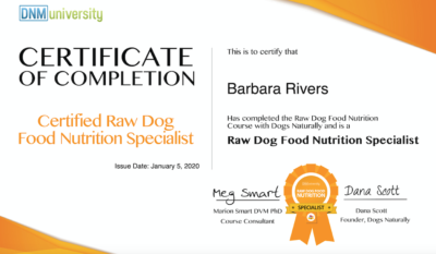 Certified Raw Dog Food Nutrition Specialist Certificate of Completion for Barbara Rivers
